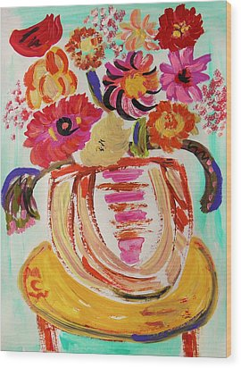 Rainbow In The Vase Wood Print by Mary Carol Williams