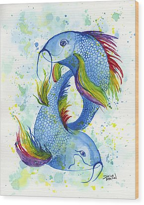 Wood Print featuring the painting Rainbow Koi by Darice Machel McGuire