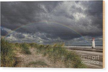 Rainbow Lighthouse Wood Print by Adrian Evans