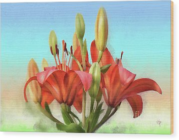 Wood Print featuring the photograph Rainbow Lilies by Lois Bryan