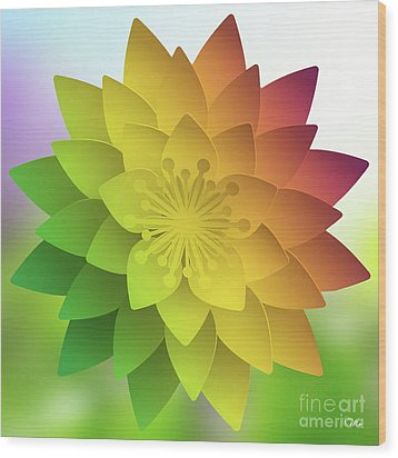 Rainbow Lotus Wood Print by Mo T