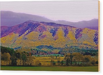 Rainbow Mountain Wood Print by DigiArt Diaries by Vicky B Fuller