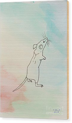 Rainbow Mouse Wood Print by Stefanie Forck
