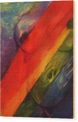 Rainbow Nude Wood Print by Shelley Bain