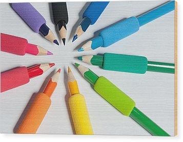 Rainbow Of Crayons Wood Print