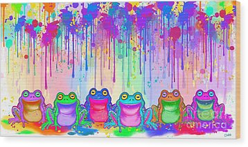 Wood Print featuring the painting Rainbow Of Painted Frogs by Nick Gustafson