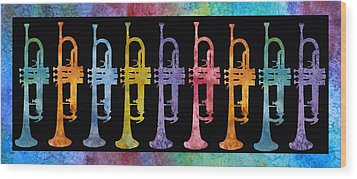 Rainbow Of Trumpets Wood Print by Jenny Armitage