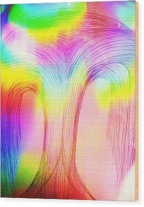 Rainbow Over A Tree Wood Print by Nereida Slesarchik Cedeno Wilcoxon