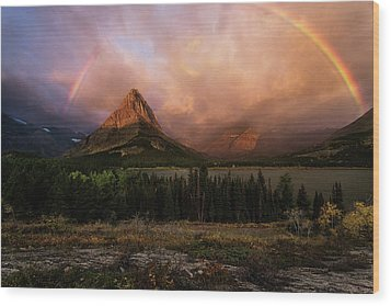 Rainbow Over Mt Gould Wood Print