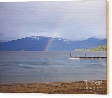Rainbow Over Priest Lake Wood Print by Carol Groenen
