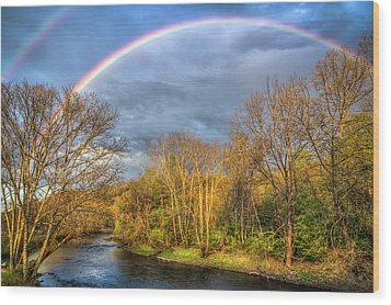 Wood Print featuring the photograph Rainbow Over The River by Debra and Dave Vanderlaan