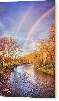 Wood Print featuring the photograph Rainbow Over The River II by Debra and Dave Vanderlaan