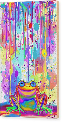 Wood Print featuring the painting Rainbow Painted Frog  by Nick Gustafson
