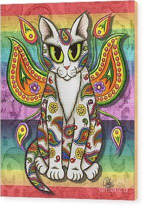 Rainbow Paisley Fairy Cat Wood Print by Carrie Hawks