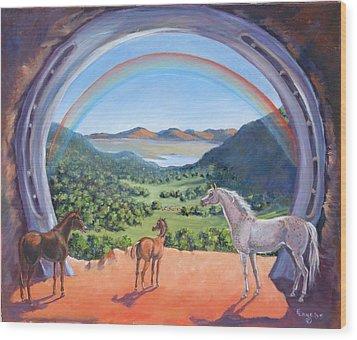 Rainbow Portal Wood Print by Elizabeth Lane