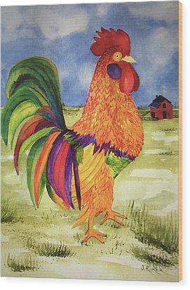 Rainbow Rooster Wood Print