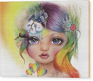 Wood Print featuring the mixed media Rainbow Rosalie  by Sheena Pike