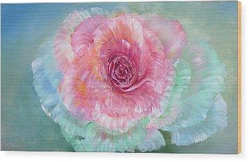 Rainbow Rose Wood Print by Ann Marie Bone