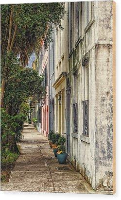 Rainbow Row Sidewalk View - 4 Wood Print by Frank J Benz