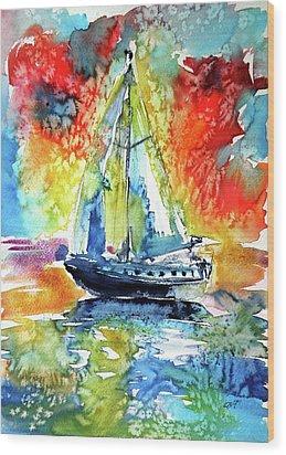 Rainbow Sailboat At Sunset Wood Print by Kovacs Anna Brigitta