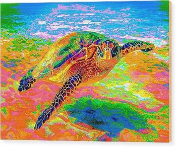 Rainbow Sea Turtle Wood Print