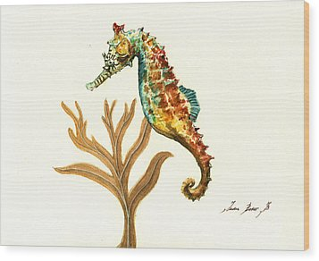 Rainbow Seahorse Wood Print