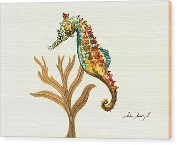 Rainbow Seahorse Wood Print by Juan Bosco