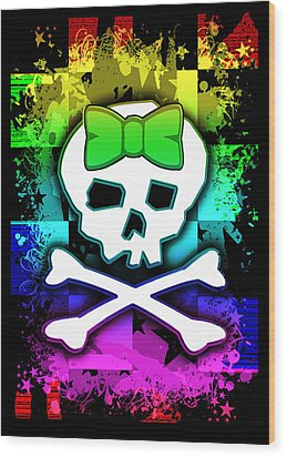 Rainbow Skull Wood Print by Roseanne Jones