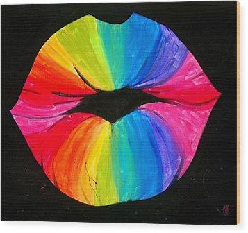 Rainbow Smooch Wood Print by Marisela Mungia