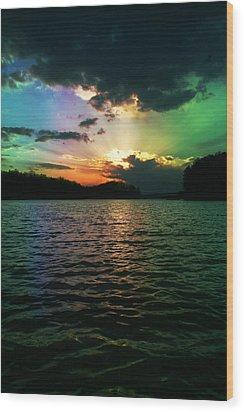 Rainbow Sunset Wood Print by Adam LeCroy