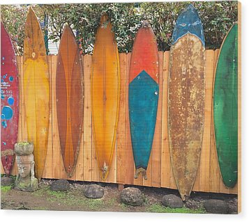 Surfboard Rainbow Wood Print