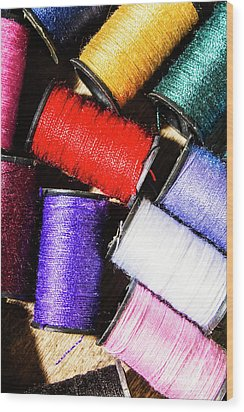 Wood Print featuring the photograph Rainbow Threads Sewing Equipment by Jorgo Photography - Wall Art Gallery