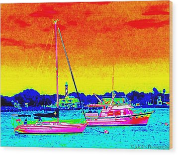 Rainbow Tide Wood Print