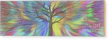 Wood Print featuring the digital art Rainbow Tree By Kaye Menner by Kaye Menner