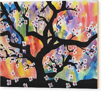 Rainbow Tree Wood Print