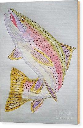 Rainbow Trout Presented In Colored Pencil Wood Print by Scott D Van Osdol