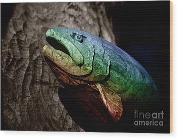 Wood Print featuring the photograph Rainbow Trout Wood Sculpture by John Stephens