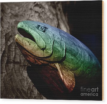Rainbow Trout Wood Sculpture Square Wood Print by John Stephens