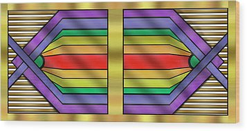 Wood Print featuring the digital art Rainbow Wall Hanging Horizontal by Chuck Staley