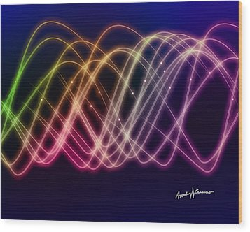 Rainbow Waves Wood Print by Anthony Caruso