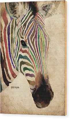 Rainbow Zebra Wood Print by Greg Collins