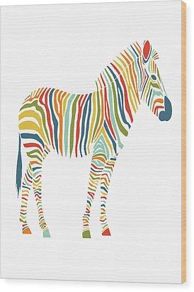 Rainbow Zebra Wood Print by Nicole Wilson