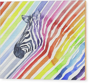 Rainbow Zebra Pattern Wood Print