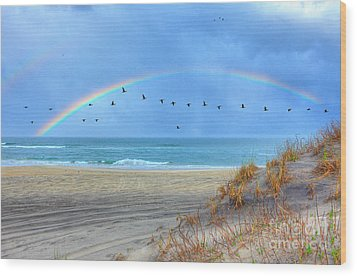 Rainbows And Wings I Wood Print