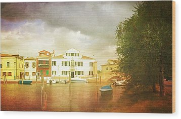 Wood Print featuring the photograph Raincloud Over Malamocco by Anne Kotan