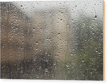 Raindrops On Window Wood Print by Brandon Tabiolo - Printscapes