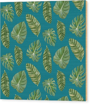 Rainforest Resort - Tropical Leaves Elephant's Ear Philodendron Banana Leaf Wood Print by Audrey Jeanne Roberts