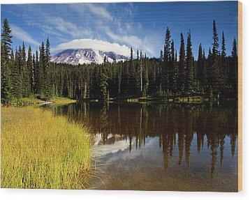 Rainier Capped Wood Print by Mike  Dawson