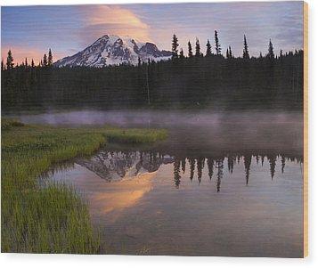Rainier Lenticular Sunrise Wood Print by Mike  Dawson