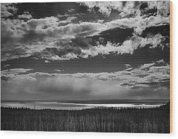 Wood Print featuring the photograph Raining At Yellowstone Lake by Jason Moynihan
